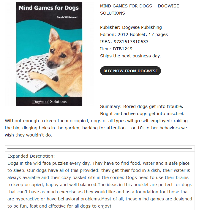 Brain Games for your dog! - 4Paws - North Staffordshire